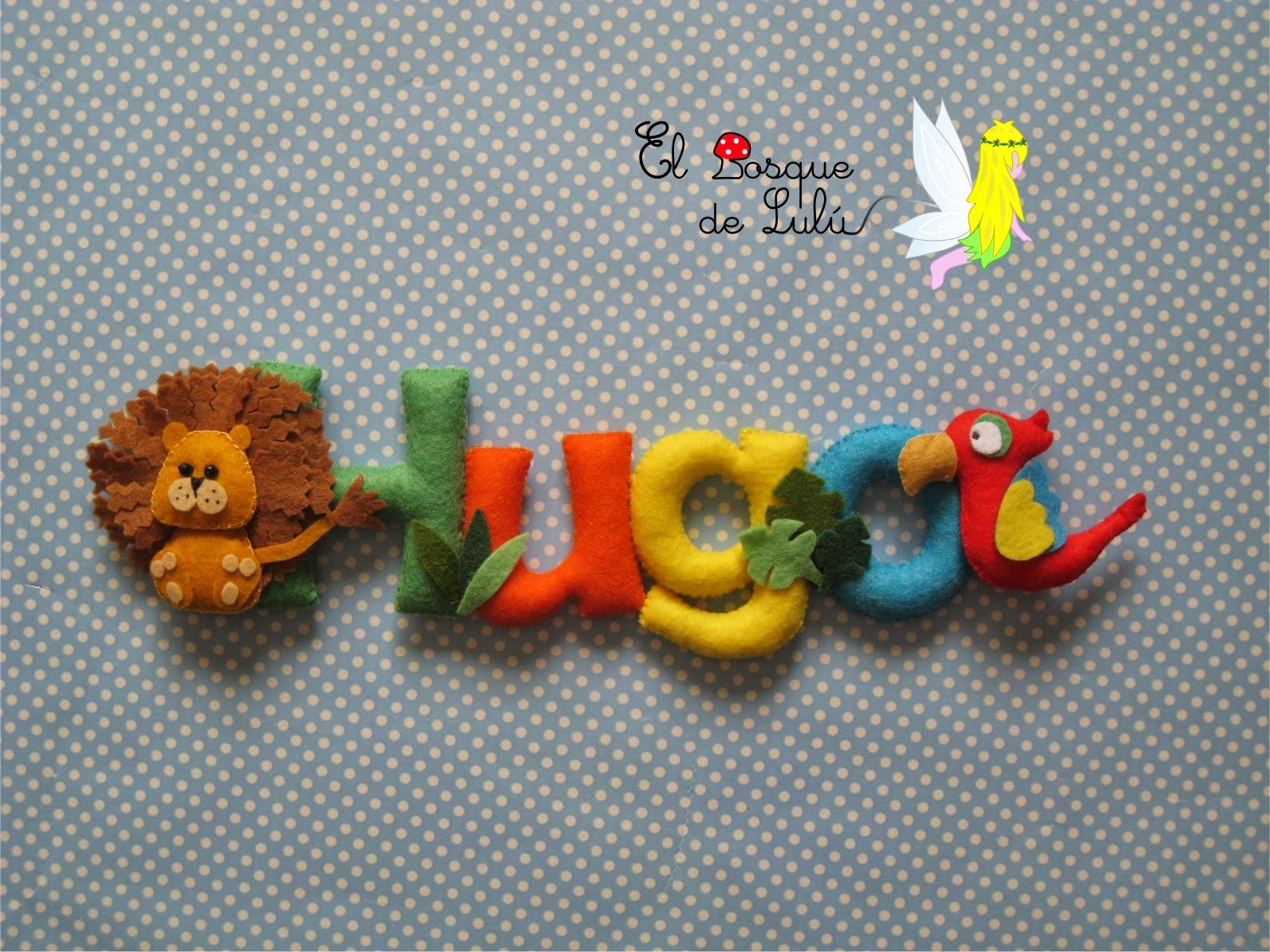 nombre-decorativo-fieltro-Hugo-regalo-nacimiento-bebe-decoración-animales
