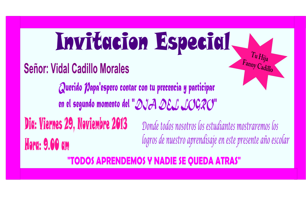 Fanny Beatriz Cadillo: Invitacion del Dia del Logro