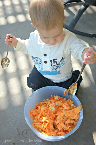 Pumpkin sensory play for toddlers - how to carve pumpkins with young children