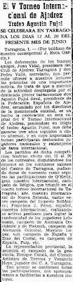 Recorte Mundo Deportivo sobre el Torneo Internacional de Ajedrez Tarragona 1960