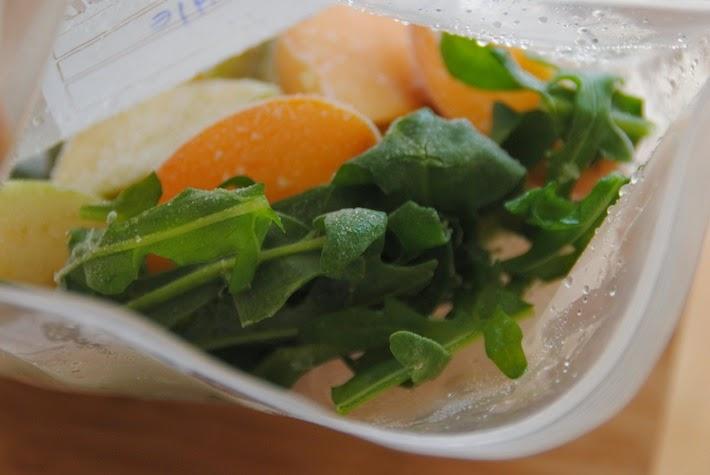 ingredientes para Smoothies Verdes congelados en bolsitas