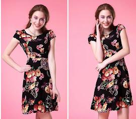 Short Sleeve Black-Layered Neck Flare Dress