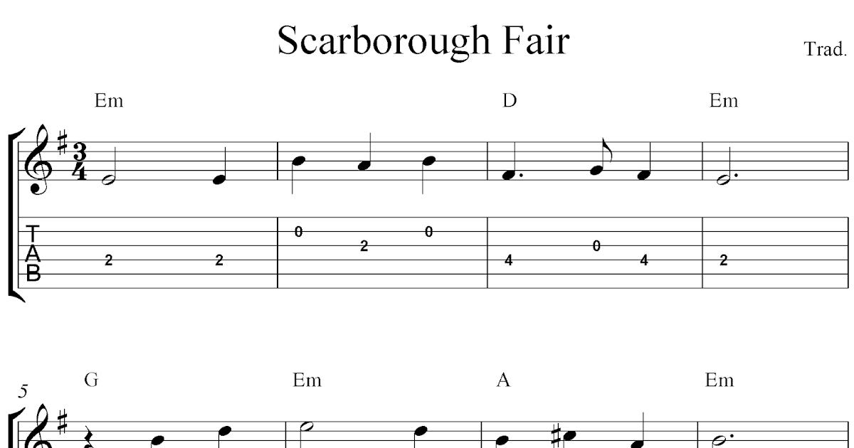 Free easy guitar tabs sheet music notes, Scarborough Fair