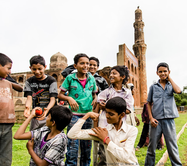 boys playing outside school near Bidar Fort