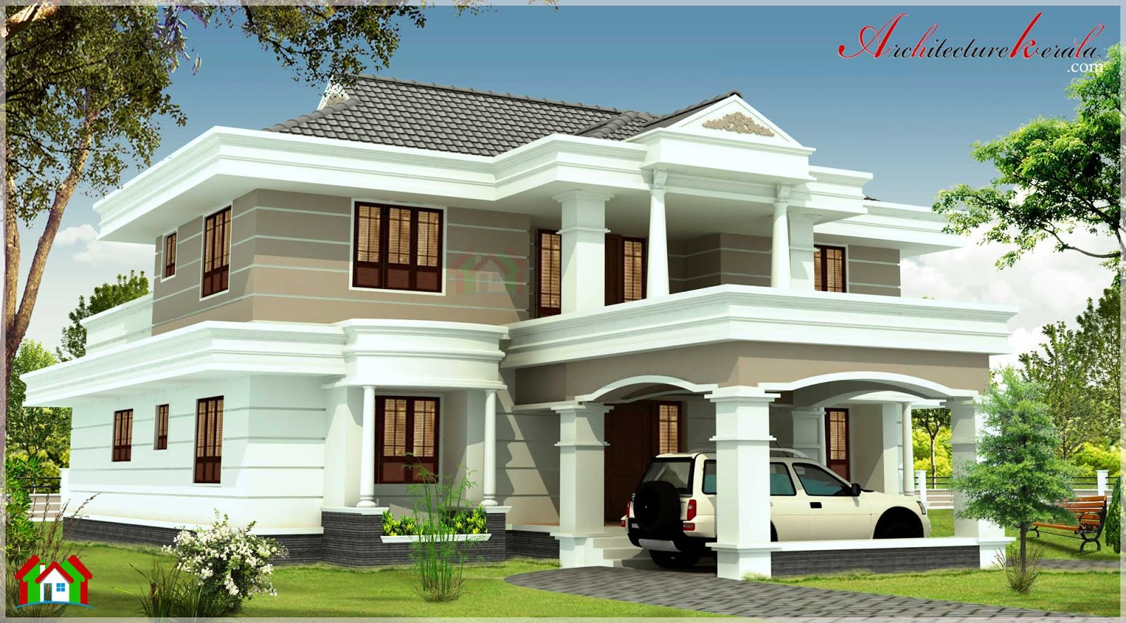 3000 sqft contemporary style kerala house elevation for Elevation of kerala homes