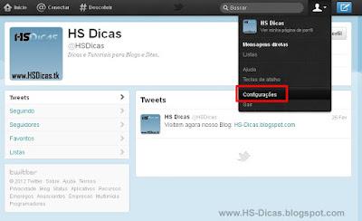 Configurações Twitter.