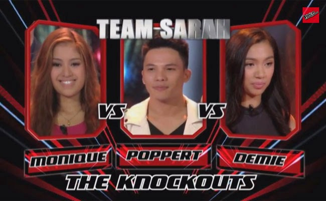 The Voice of The Philippines Season 2 Knock Out Rounds Team Sarah; Monique Lualhati, Poppert Bernadas and Demie Fresco