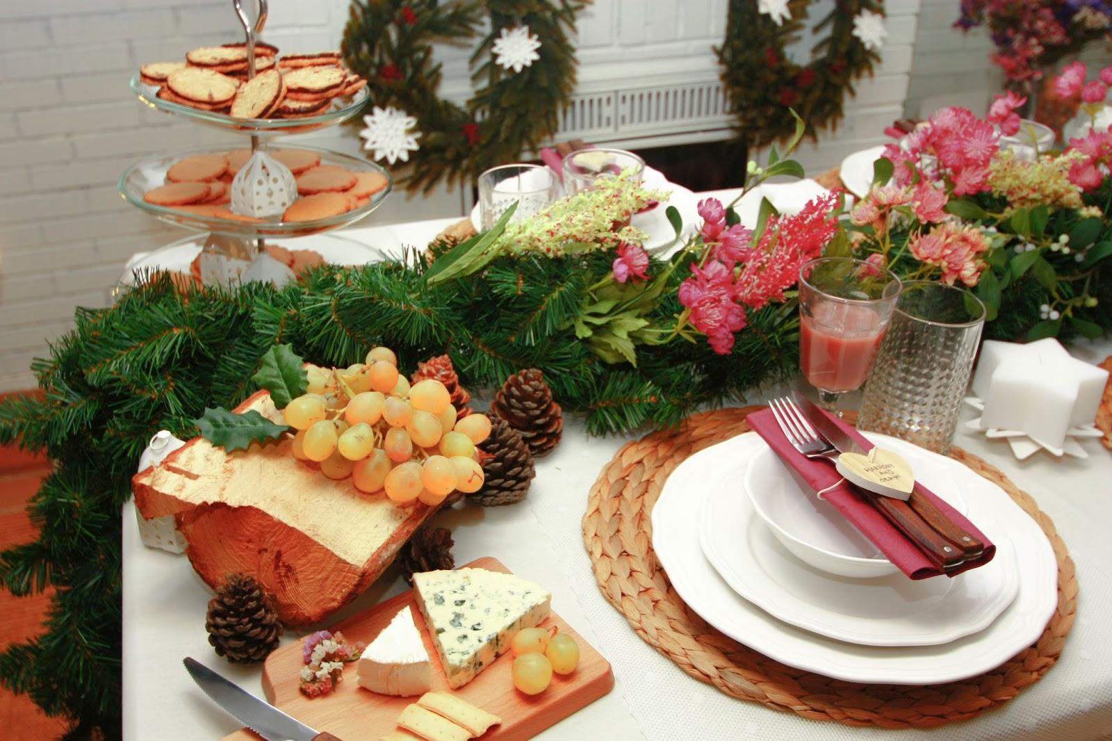 Decoración mesa navideña: centro floral