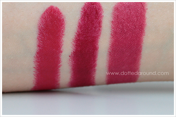 MAC Runaway Red lipstick swatches comparison MAC Red Perpetual Flame