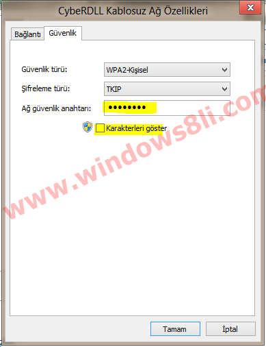 Windows 8 Kablosuz bağlantı şifresi