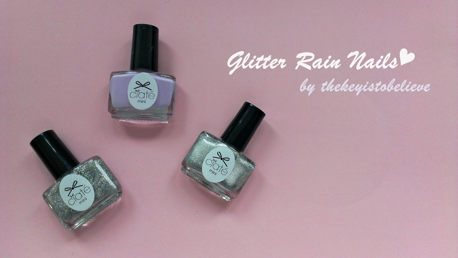 thekeyistobelieve: nails: glitter rain nails