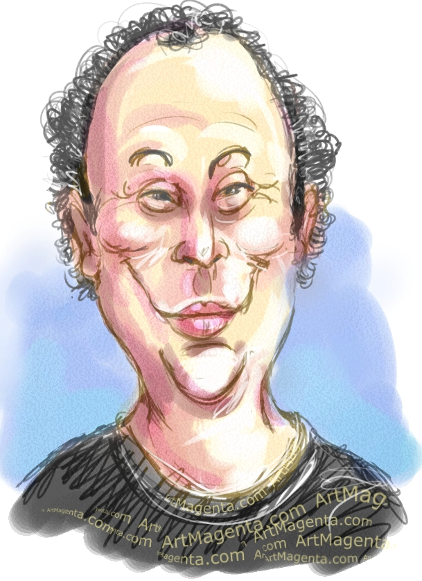 Billy Crystal caricature cartoon. Portrait drawing by caricaturist Artmagenta