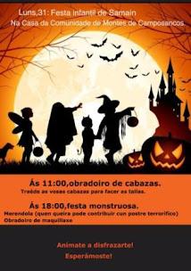 CAMPOSANCOS: LUNS 31 DE OUTUBRO, FESTA INFANTIL DO SAMAÍN, NA CASA DA COMUNIDADE DE MONTES