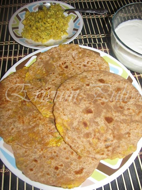 Egg Parathas / Whole Wheat Indian Flat Bread with Egg stuffing