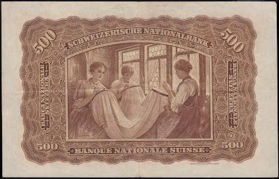 Switzerland money 500 Swiss Francs banknote