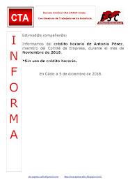 C.T.A. INFORMA CRÉDITO HORARIO ANTONIO PÉREZ, NOVIEMBRE 2018