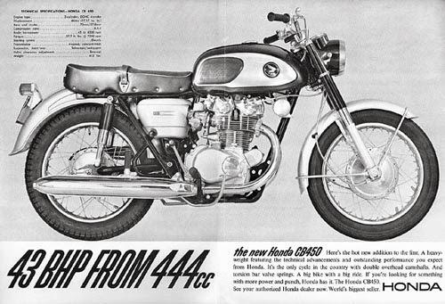 Một chiếc Honda phiên bản CB450K0 1965 được quảng cáo tại Mỹ.