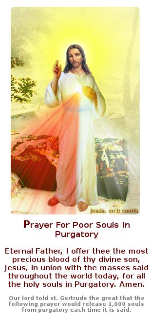 jesus con oracion en ingles para las santas almas en el purgatorio