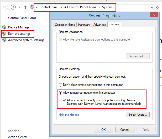 Windows server Remote settings