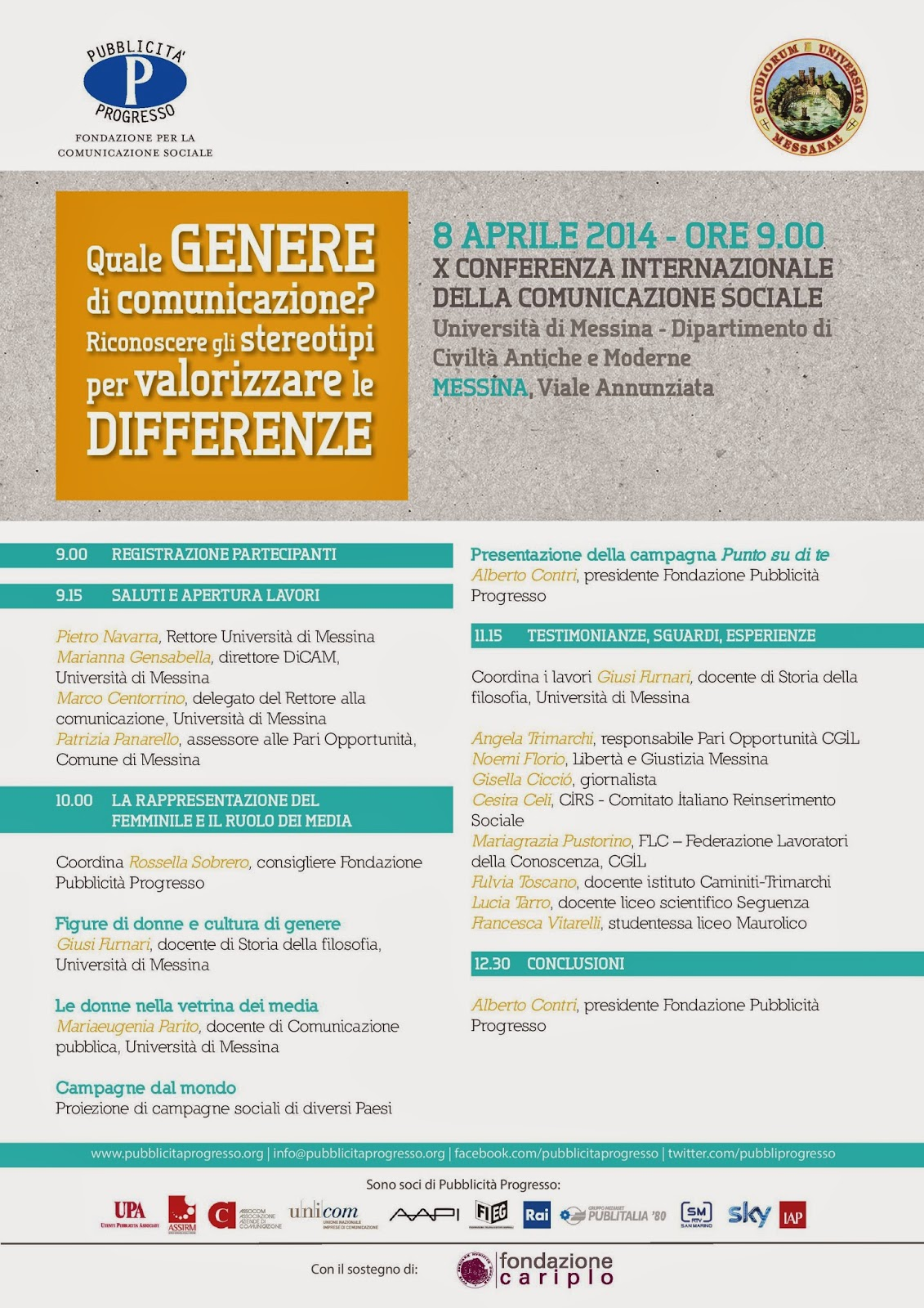 "PUBBLICITA' PROGRESSO & UNIME: CONFERENZA SU PARITA' DI GENERE E CONTEST ""ON THE MOVE"""