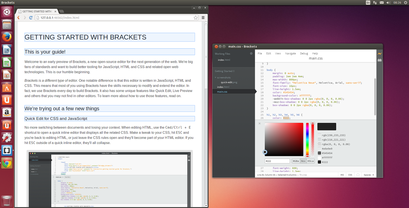 Tampilan Brackets di Linux (Ubuntu)