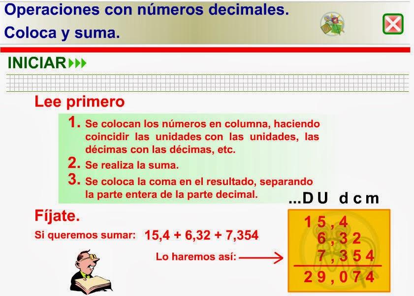 OPERACIONES CON Nº DECIMALES