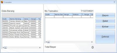 Tampila Form Transaksi