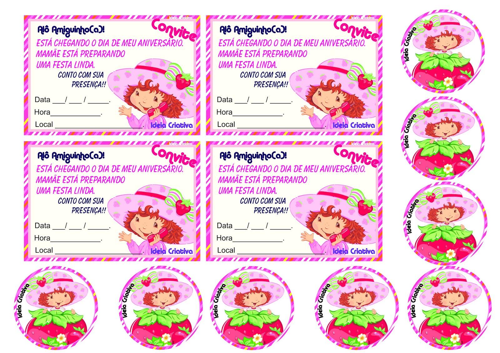 Convite de Aniversário e Toopers  Moranguinho para imprimir Grátis