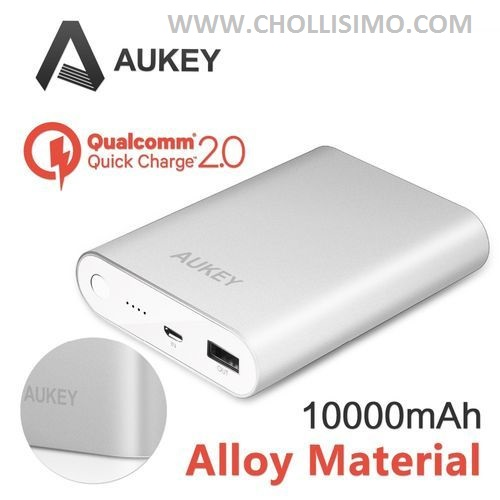Batería AUKEY, [Qualcomm Certificado] Aukey® Quick Charge2.0 10000mAh Batería Externa Power Bank