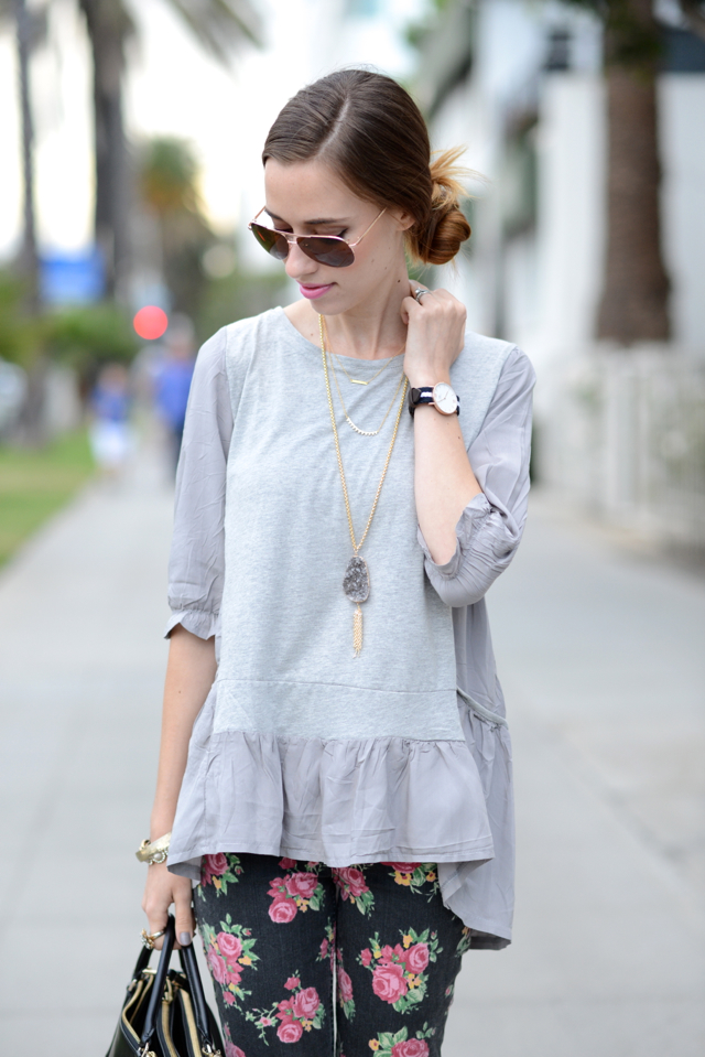 gray ruffled top, M Loves M