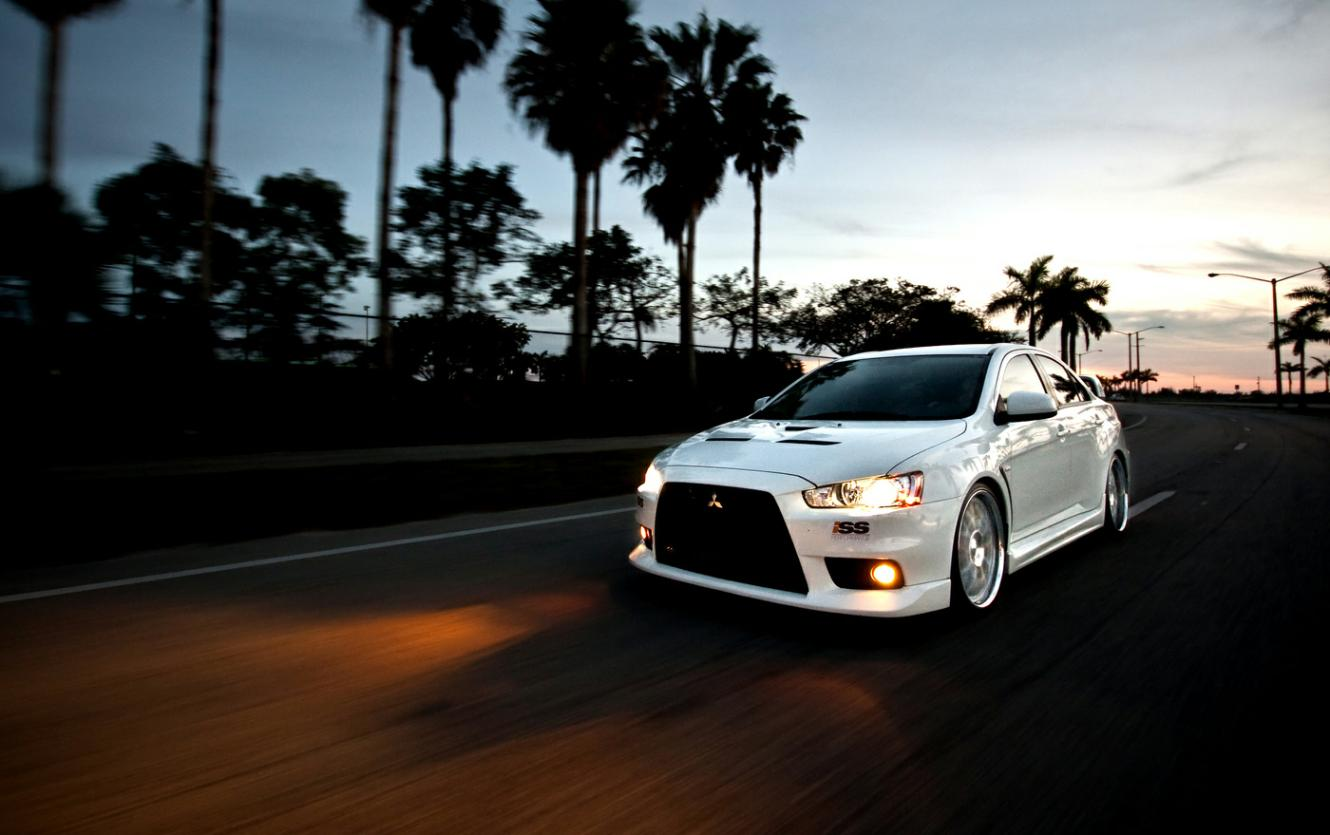 white mitsubishi evo lights on hd wallpaper picture to pin
