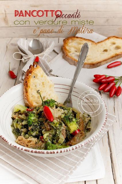 pancotto piccante con verdure miste e pane di matera