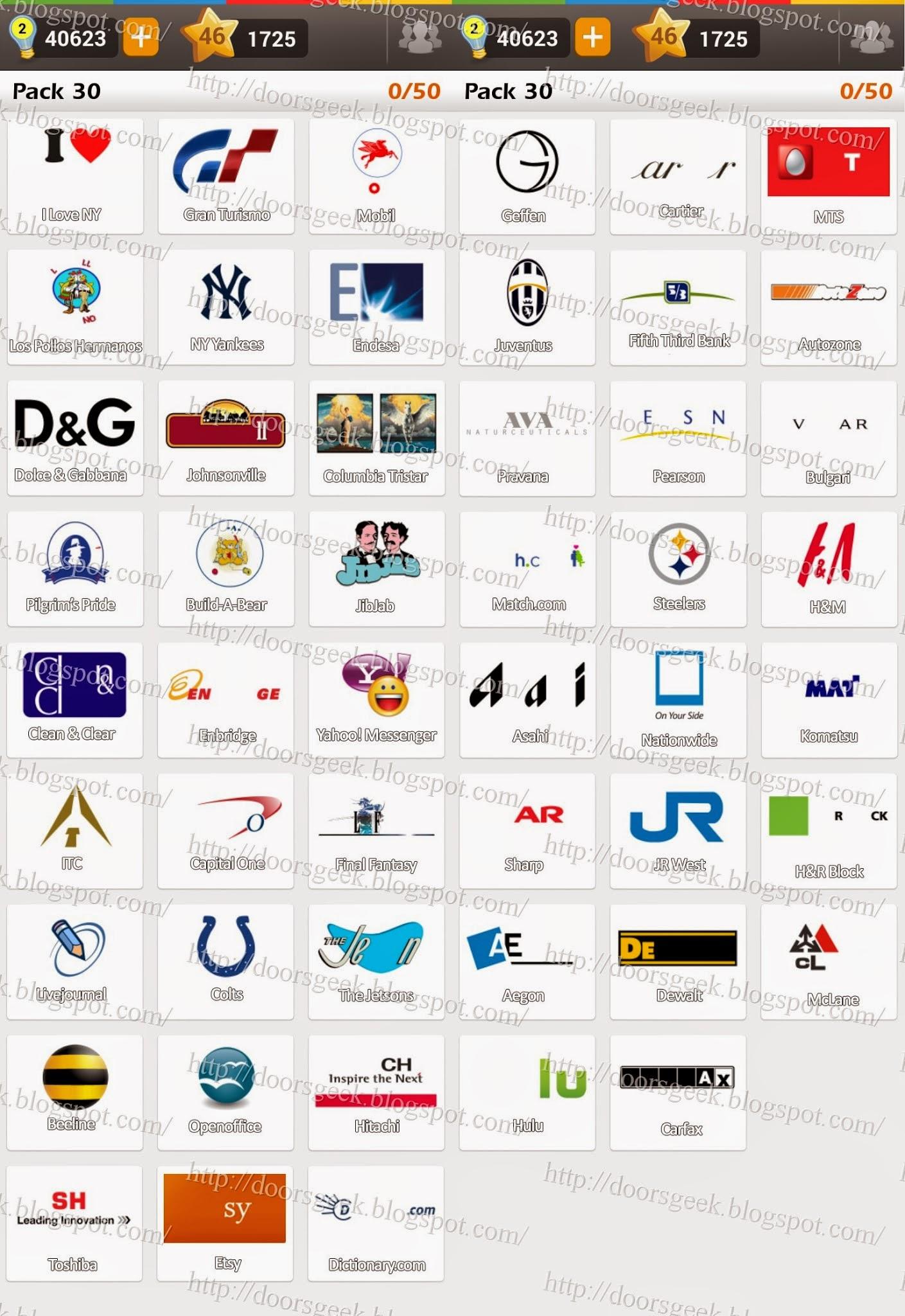Extrêmement Logo Game: Guess the Brand [Regular] Pack 30 ~ Doors Geek QV95