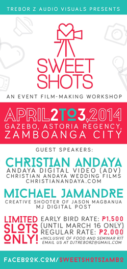 trebor z sweet shots event film making workshop zamboanga videography