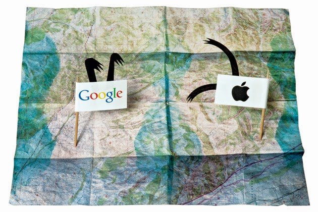 A white flag with the Google logo and one with the Apple logo on a large map.  The flags have arms that are up in fighting positions.