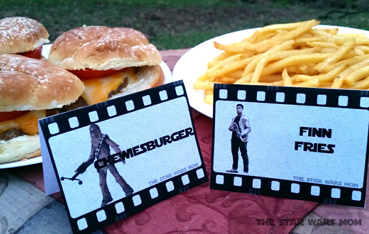star wars party food labels - chewiesburger and finn fries - free