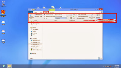 Learn how to disable show or don't show hidden files and folders in windows 8 step12
