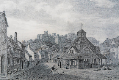 Etching of Dunster in 1810