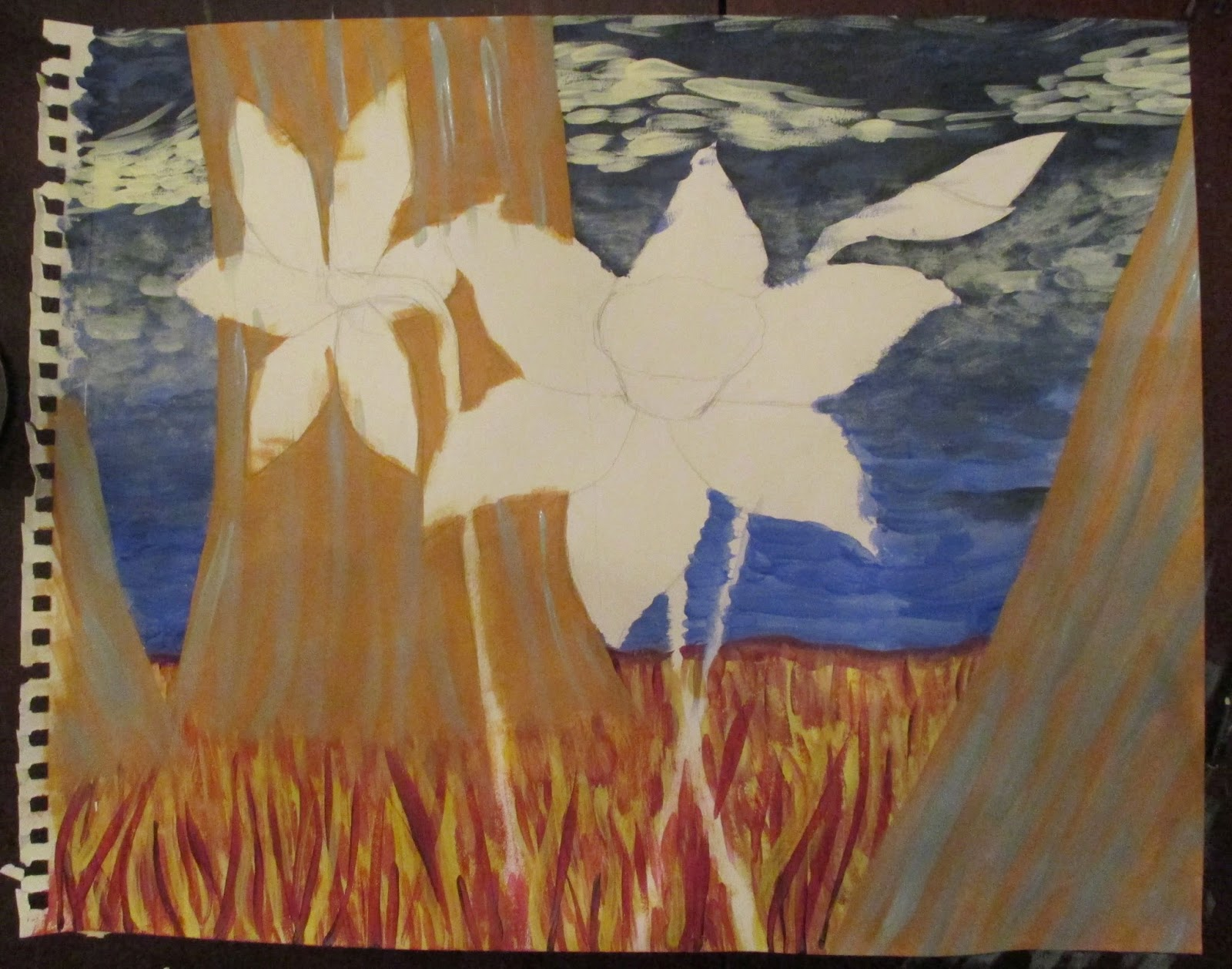 incomplete daffodil painting