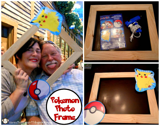i found pokemon characters on amazon and took my hot glue gun and attached pikachu and a pokemon ball then off to the party we went and picture magic