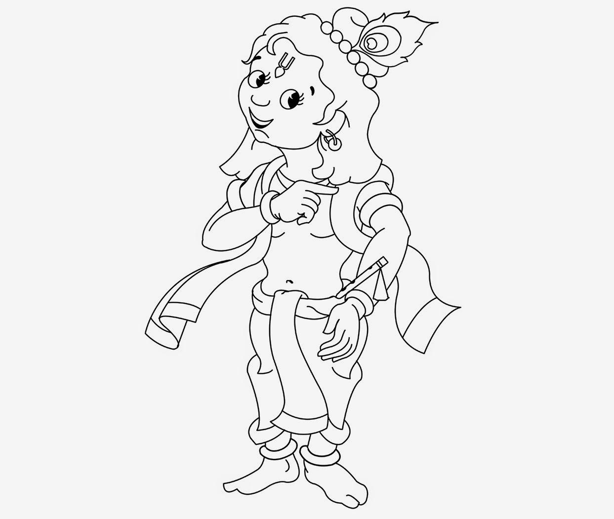Little Krishna For Kid Coloring Drawing Free wallpaper | Anggela ...