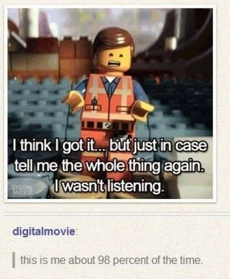 lego comic, lego movie, lego movie meme, chris pratt, chris pratt lego, emmett lego, i wasn't paying attention