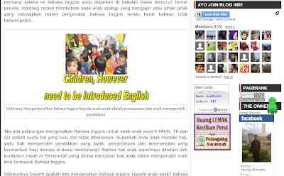 Tampilan Blog Bahasa Inggris anak Indonesia by Almusto Januari 2014