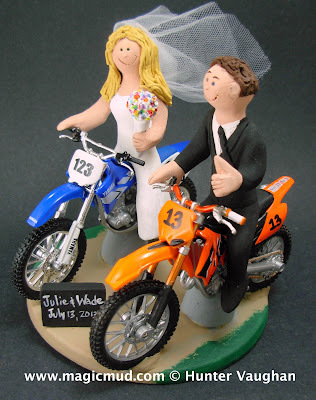 yamaha riding bride wedding cake topper