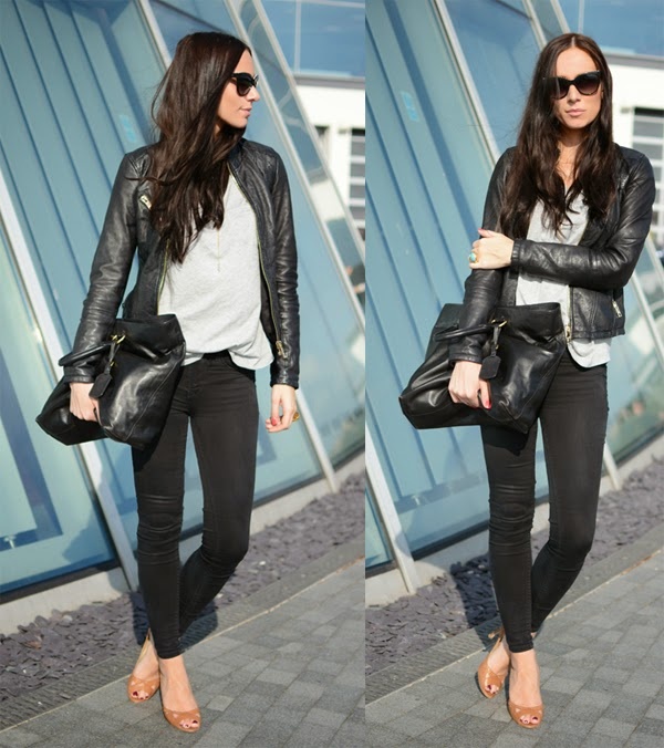 Leather_Jacket_Basics_Outfit_Grey_Shirt_Tee_Prada_Purses_Chanel_Sunnies