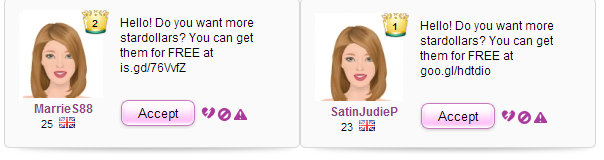 Stardoll Hackers Be AWARE friend request scam short links bit.ly