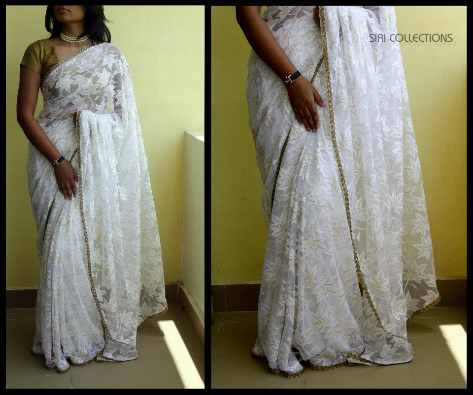 white lace pattern saree