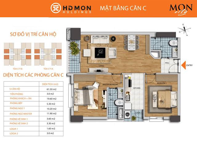 Căn C 61m2 chung cư HD Mon City