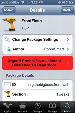 FrontFlash Cydia Tweaks