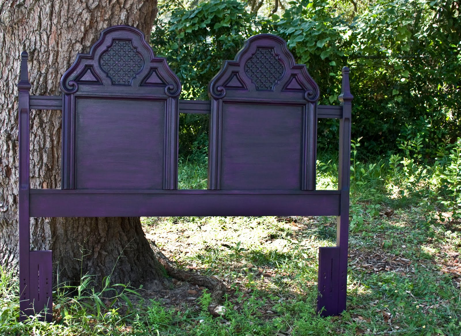 modernly shabby chic furniture retro purple queen headboard